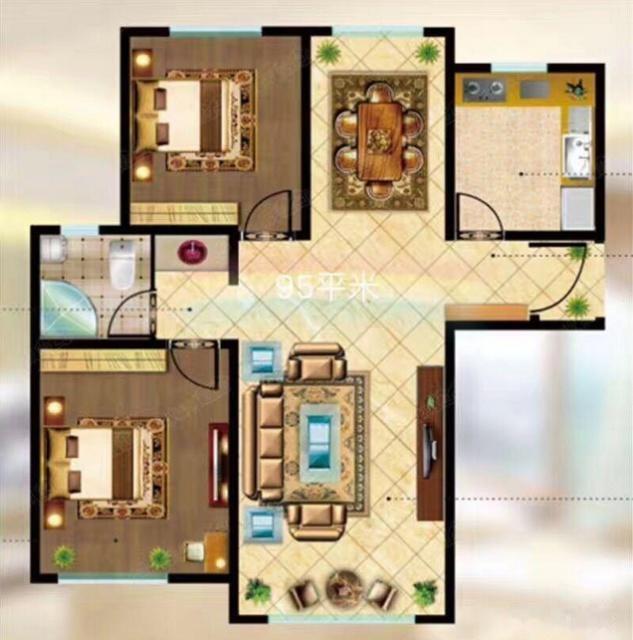 白鸟湖 奥特莱斯 66中学 中城国际城 2室2厅1卫 96