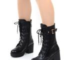 女鞋批发2013春秋冬季欧美真皮粗跟厚底短靴高跟机车靴女马丁靴子