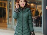 2014冬季外套棉服女韩版中长款大码修身连帽棉衣女加厚保暖棉袄潮