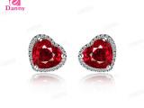丹妮珠宝红宝石2013不带证书18K金耳环纯银镶嵌宝石彩色宝石