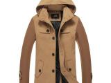 韩版潮男士风衣中长款毛呢大衣可脱卸帽男士呢子大衣外套男式棉衣
