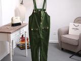 15韩版女装 糖果色宽松休闲显瘦吊带背带裤女式长裤多口百搭