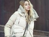 欧美2014秋冬新款大码女装军工装白鹅绒羽绒服女