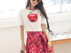 2014品牌泰国潮红苹果印花T恤+印花半身裙套装 两件套