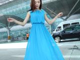 正品夏装新款韩版修身无袖白色波西米亚长裙连衣裙连衣长裙
