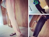 女装批发厂家2015夏季新款飘逸设计感腿部开叉剪裁显瘦雪纺哈伦裤
