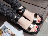 欧洲站2014新款真皮厚底松糕跟凉鞋女 学生潮流夏季露趾平跟女鞋