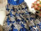 2014孕妇装 拼接烫金孕妇 蕾丝百褶背心裙娃娃裙孕妇裙 连衣裙
