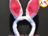 ST012毛绒兔耳朵17cm 蝴蝶结米奇米尼发箍发饰头饰cos兔