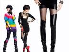 2014春夏新款对称网纱拼接打底裤 薄款蕾丝拼接九分皮裤