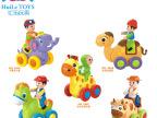汇乐366-X动物摇摆秀惯性小车儿童趣味 卡通玩具车总动员双吸塑