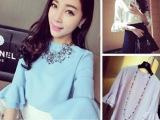 2014春夏新款 韩版女装 喇叭袖甜美气质纯色雪纺衫 短袖上衣0