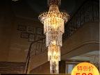 华都灯饰特价金色黄色别墅 复式楼梯水晶大吊灯现代酒店豪华灯具