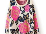 2014春装羊毛衫新款韩版大花朵圆领金线