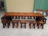 老船木家具餐桌会议桌户外阳台实木圆餐桌厂家直销