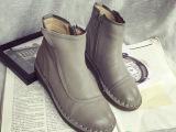 2015秋季新款手工真皮女鞋 舒适低跟平底侧拉链短靴民族风女靴子