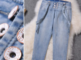 2014欧美夏装新款欧洲站 大牌明星同款深蓝卷边背带牛仔裤J