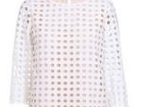 2014春季新款镂空波点刺绣宽松圆领中袖淑女衬衫女式213501