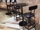 上海星巴克loft工业风咖啡厅酒吧铁艺吧桌椅定做