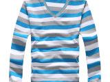 2014男士长袖T恤男装V领T恤佐丹奴T恤批发中老年服装批发一件