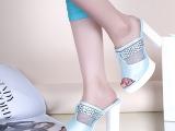 批发2014夏季简约时尚女士凉鞋 防水台粗跟水钻真皮鱼嘴凉鞋