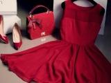 2014夏季淑女修身雪纺连衣裙中长款大摆裙纯色背心裙