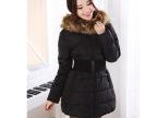 文佳2014新款超大毛领中长款女士韩版修身显瘦羽绒服厂家批发