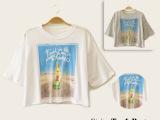 8707【淘货源】夏季女装 Z家欧美风短款水果四色印花短袖女t恤