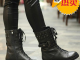 厂家批发女鞋2013欧美新款外贸品牌真皮马丁靴军靴中筒短靴女靴子