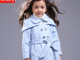 kidsnala童装女童外套2015新款双排扣儿童呢大衣英伦风斗