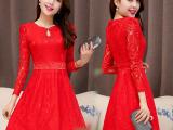 秋款大红色新娘结婚宴会晚礼服婚礼敬酒服回门装长袖蕾丝连衣裙子