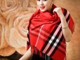新款韩版大红围巾羊绒格子围脖秋冬女士长款披肩两用针织方形围巾