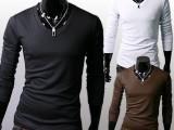 韩版时尚潮流修身T恤男士V领长款英伦潮牌修身百搭纯色打底衫