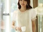 2014夏季新款韩版气质花朵钉珠蕾丝雪纺衫短袖衬衫
