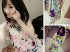 韩版女装2014夏装新款 唯美飘逸优质波西米亚雪纺连衣裙夏季女