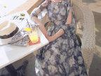 3226S227065 2015春装新款时尚素花沙滩长裙 露肩中袖雪纺连衣裙