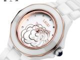 瑞士雷士旗手表女表陶瓷白色表女士腕表防水石英表韩版手表女正品