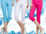 2015夏装新款显瘦糖果色中腰7七分裤女装白色弹力牛仔裤铅笔裤女