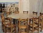 仿古餐厅桌椅深度炭化木台凳茶楼蒸汽火锅桑拿鱼餐桌椅
