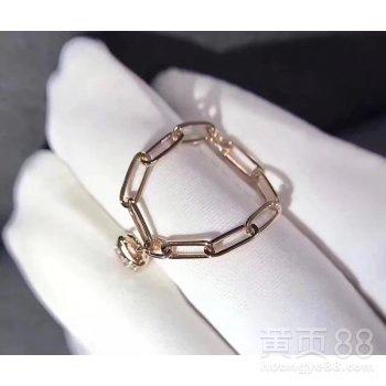 周生生专柜同款18k金镶钻锁链戒指带证书