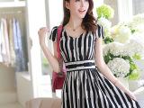 2014新款韩版亚麻条纹背心裙 女大码显瘦短袖棉麻连衣裙