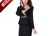 2014新款韩版女装撞色修身长袖假两件OL通勤职业连衣裙3005