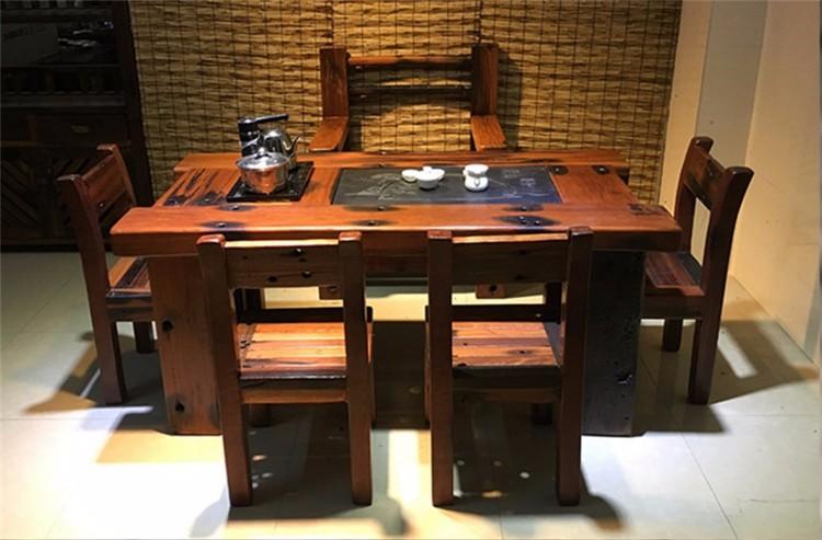 批发老船木茶桌椅实木中式仿古家具古船木茶桌