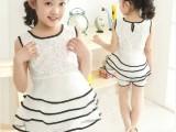 童装女童夏装2014新款套装儿童夏季两件套潮欧根纱公主裙一件代发