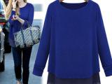 2014秋新款女装针织衫拼接雪纺打底衫大码宽松长袖t恤G443-