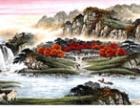 江林春祥瑞金秋国画典藏组 采用手工装裱且带有大师落款机印章