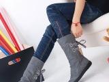 外贸雪地靴秋冬休闲骑士靴中筒靴子舒适平底内增高女靴子大码女鞋