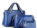 2014新款简约欧美时尚女包奢华鳄鱼纹子母包三件套手提斜挎大包包