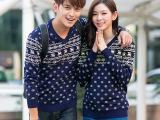 新款韩国韩版蓝色小鹿毛衣情侣装