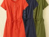 2014夏装新款韩版胖mm大码女宽松短袖棉麻收腰连衣裙子B016